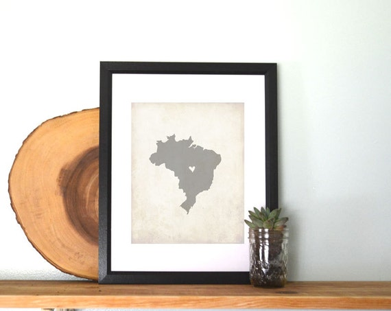 Brazil Personalized Country Map Art 8x10 Print. Personalized Keepsake Map. South America Country Map. Childhood Home Map. Mission Map Gift.