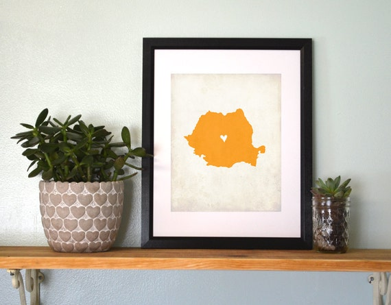 Romania Personalized Country Map Art 8x10 Print