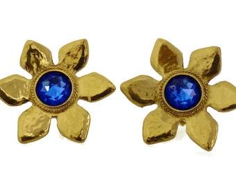 Vintage Yves Saint Laurent Flower Blue Stone Earrings