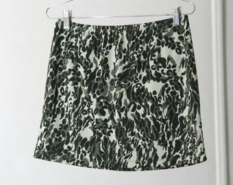 Stretchy Camo/Animal Print 90s Mini Skirt with Rhinestones