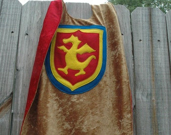 Dragon Cape GOLD and RED - Super Cape - Birthday Cape - Super Hero Cape - Halloween Costume - Halloween Costume - Kid Costume
