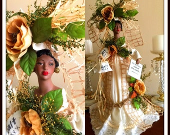 Black ART DOLL 21 Inch Tall African American Scripture Inspired Salt of the earth OOAK Handcrafted Home Decor