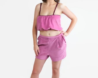 70s DeWeese Design 3pc Set Shorts Bubble Top Shirt Romper Pink Cover Up