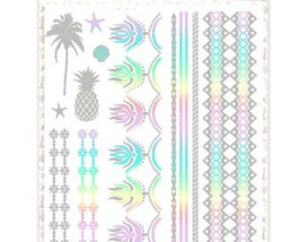 Metallic Silver & Pastel Rainbow Temporary Tattoo A5 Set