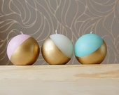 Metallic pastel color ball candles or eggs - set of 3, half painted in gold, metallic interior details, modern home decor, hygge candles