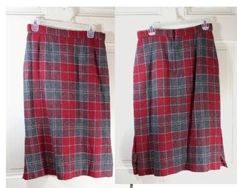Wool Plaid Womens Skirt- Wool Blend- Red Gray Plaid- Pencil Skirt- Vincenti- Size small / medium
