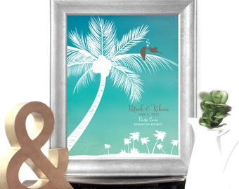 Punta Cana wedding gift. In Love Birds. Caribbean honeymoon art. Custom Couple Names. Unframed.