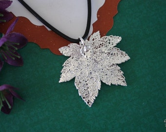 SALE Leaf Necklace, Silver Maple Leaf, Real Leaf Necklace,Silver Full Moon Maple Leaf Pendant, SALE207