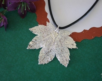 SALE Leaf Necklace, Silver Maple Leaf, Real Leaf Necklace, Silver Full Moon Maple Leaf Pendant, SALE208