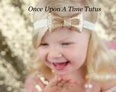 Ivory Gold Glitter Bow Headband - Trendy Polka Dot Sparkle Hair Bow - Newborn Baby Hairbow Cream Little Girl Photo Prop Birthday Hair Piece