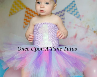 First Birthday Sparkly Lavender Tutu Dress - Little Girls or Toddler Size Baby 6 9 12 18 24 Months 2T Purple Aqua Pink - Choice of Color