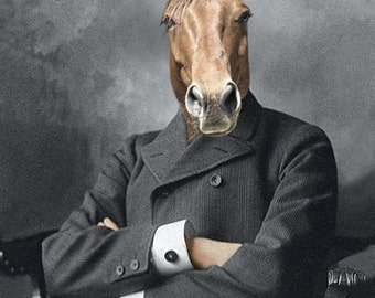 """Horse Art, """"Mister Ed"""", Whimsical Animal Art, Anthropomorphic Art,  Horse in Clothes, Unique Wall Decor, Photo Collage, Gift for horse lover"""