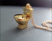 Miniature Gold Toilet with Opening Lid. Metal. Oddities. Funny Unusual Jewelry. Unisex. Cute Miniatures. Under 20. Wealth. Gold Toilet.