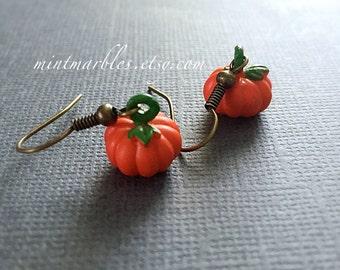 Teeny Pumpkin Dangle Earrings. Halloween. Fall Harvest. Small Miniature Orange Pumpkins. Seasonal. Cute Earrings. Under 10. Gifts. Brass.