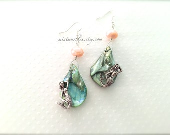 Mint Green Seashell and Pale Pink Pearl Mermaid Dangle Earrings. Teardrop. Beach. Summer. Abalone. Shells. Under 25. Silver Mermaid. Gifts.