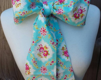Upcycled Steampunk Clothing, Mad Hatter Bow Tie, Cotton Print Bow Tie, Turquoise/Pink/ White Floral Print, Alice in Wonderland, Tim Burton
