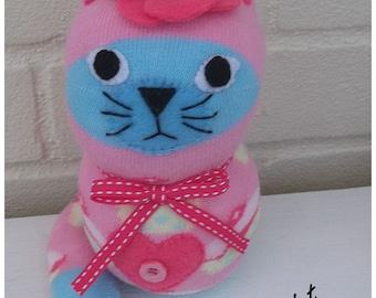 Sock Cat/Sock Animal/toy/Plush Cat. - Harriet