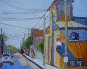 Downtown 2-Urban Street Landscape Art. Colorful. Modern. Small. Affordable Giclee PRINT of original oil painting. Limited edition.