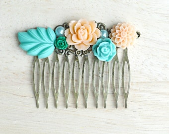 Aquamarine and Peach Flower Hair Comb Vintage Style Hair Comb Wedding Hair Piece