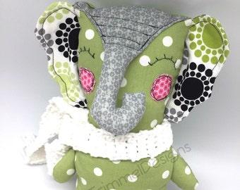Green Polka Dot Stuffed Elephant Plush Doll, handmade cloth animal plush gift nursery decor, Soft animal Toy birthday gift, decorative doll