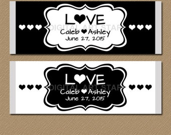Personalized Black and White Wedding Candy Wrappers - Printable Candy Labels - Personalized Wedding Favors - Bridal Candy Bar Wrappers