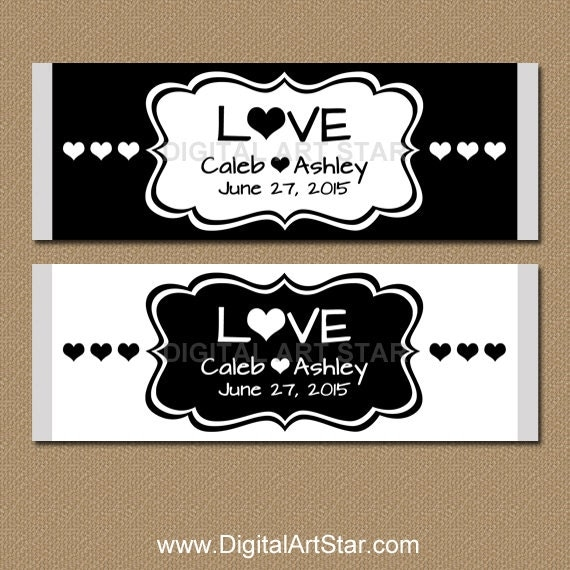 Personalized Black and White Wedding Candy Wrappers