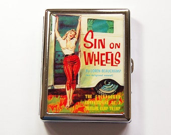 Metal cigarette case, Cigarette Case, Cigarette box, Gift for him, Sin on Wheels, Retro Design, case for smokes (4996)