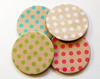 Polka Dot Coasters, Wine Coasters, Coasters, Drink Coasters, Hostess Gift, Housewarming Gift, Stocking Stuffer, Polka Dot, Tableware (5025)