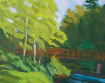 Landscape Painting Sherri McDowell Artist Oregon Art Young Cottonwoods Along the Middle Fork Willamette 9x12 inches oil canvas free shipping