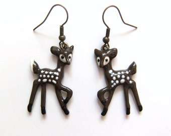 Deer Earrings, Woodland Animal Jewelry, Fawn Earrings, Brown White Spotted Fawn, Baby Deer, Deer Jewelry