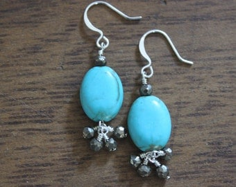 Magnesite and Faceted  Pyrite Dangle Earrings