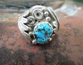 Vintage Navajo Sterling Silver Turquoise Ring Native American Size 10.5 or 10 1/2 Mens