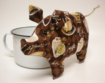 Coffee Lovers Pig - Made To Order, Decorative Pigs, Country Farmhouse Decor