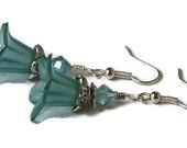 Floral Earrings Tropic Blue, Crystal & Lilies Dangle Earrings, Great Bridesmaids Gift