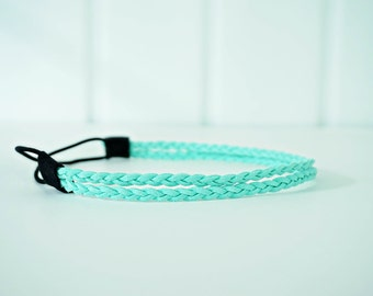 Double Strand Mint Green Braided Leather Rope Headband