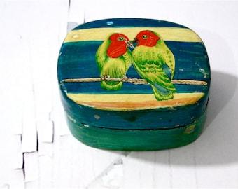 Parrot Paper Mache Trinket Holder Pin Box Jewelry // Love Birds Beach Cottage // Sewing Craft Storage 1950s Home Decor