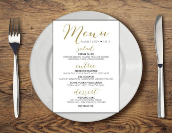 SAMPLE Dinner Menu Wedding Card Calligraphy Print Wedding – Sample Menu Card