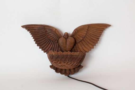 Wall lamp Dove, wood carving, to be ordered, night light for country house, cottage, villa, woodland, eco