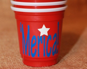 10 'Merica Party Shot Cups - Shot Glass -  Fourth of July - Patriotic - America Party - Red - Star - Blue