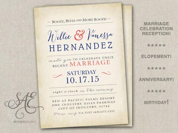 Wedding Reception Invite: Wedding Elopement Reception Invitations Invite Announcement