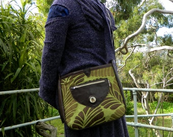 Recycled Leather Shoulder Bag Large Green and Brown Satchel with Upcycled Fabric Inlaid Magnified Pheasant Feather