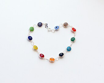 Sterling silver evil eye bracelet mix colors