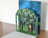 Pop up Willow tree with carved heart. Personalize this card