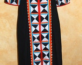 Beautiful Maxi Vintage Hand Quilted Patchwork Kaftan Dress Cover Up Party (sizeM)