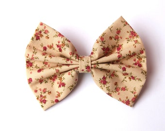 Vanessa Hair Bow - Light Coffee Color & Floral Pattern Hair Bow with Clip