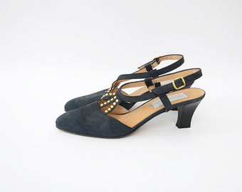 Vintage black suede 90s strappy pumps with golden studs