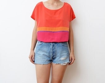 Vintage pink colorblock women oversized boxy silky top / color block / blouse / t-shirt / orange