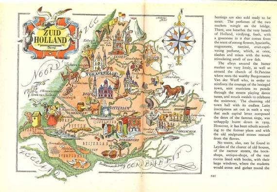 South Holland Map Illustration Netherlands Print World Map