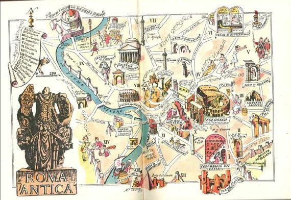 Ancient Rome Map Rome Italy Art Old Map Illustration - Rome map cartoon