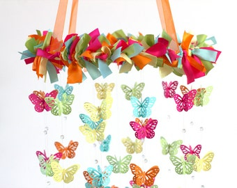 Bright Nursery Mobile- Butterflies in Hot Pink, Orange, Aqua, Yellow & Green